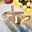 Rhinestone Crystal Cross Fashion Punk Heart Bracelet Bangle