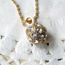 Stylish Retro Rhinestone Ball Pendant Vintage Style Gold Necklace Wedding Bridal Bridemaids Gift
