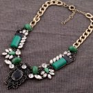Vintage Style Antiqued Gold Classic Necklace Emerald green Rhinestone Banquet Necklace