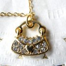 Vintage Style Vogue Gold Inlay Rhinestone Lovable The Peach Heart Satchel  Necklace