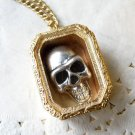 Vintage Style Vogue Gold Inlay Lovable PUNK Skeleton Box Pearl Pendeloque Cut Necklace