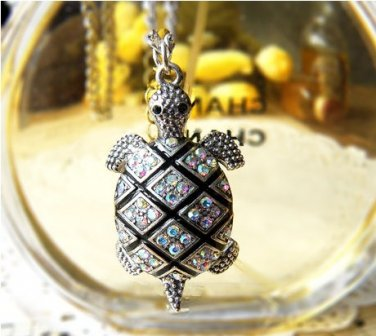 Gold Inlay Lovable Inlay Multicolour Rhinestone PUNK Sea Turtle Necklace