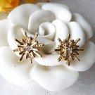 Vintage Style Vogue Gold Inlay Rhinestone Star PUNK  ear stud