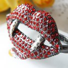 Cool Rhinestone Vampair Mouth Teeth Brass  Punk Ring