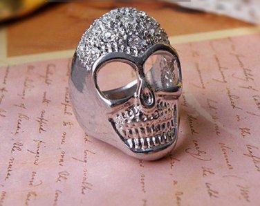 Vintage Style Vogue Inlay Rhinestone Silvery  PUNK Human Skeleton Ring