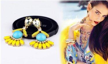 Vogue Gold Inlay Rhinestone Crystal Dinner Wedding Bridal Bridemaids Gift multicolour Earrings