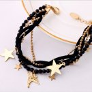 Gold Star Charms Crystal Leather Cord Multi Strand Bracelet