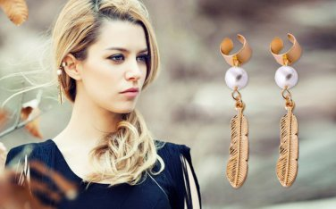 Antiqued Brass Vintage Style Classic Earrings Plume Pearl Ear Clip