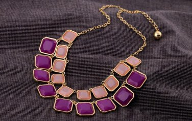 Vintage Style Antiqued Gold Classic Vogue Necklace Candy Colored Geometric Squares