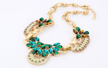 Vintage Style Antiqued Brass Classic Vogue Necklace Multicolour Crystal Dinner Necklace