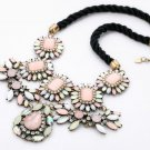 Vintage Style Antiqued Brass Classic Vogue Necklace Pink Crystal Braided Rope Necklace