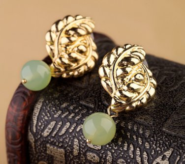 Antiqued Gold Vintage Style Classic Ear Stud  Semiprecious Stone Ear Stud