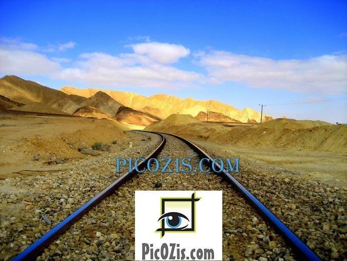 "BLA001201109 - Railroad in the desert - 20x25cm (8x10"")"