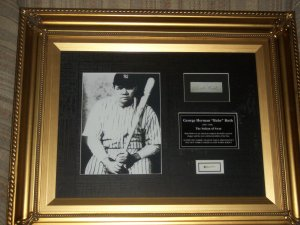 Babe Ruth autographed display and swatch of AUTHENTIC 1932 uniform framed