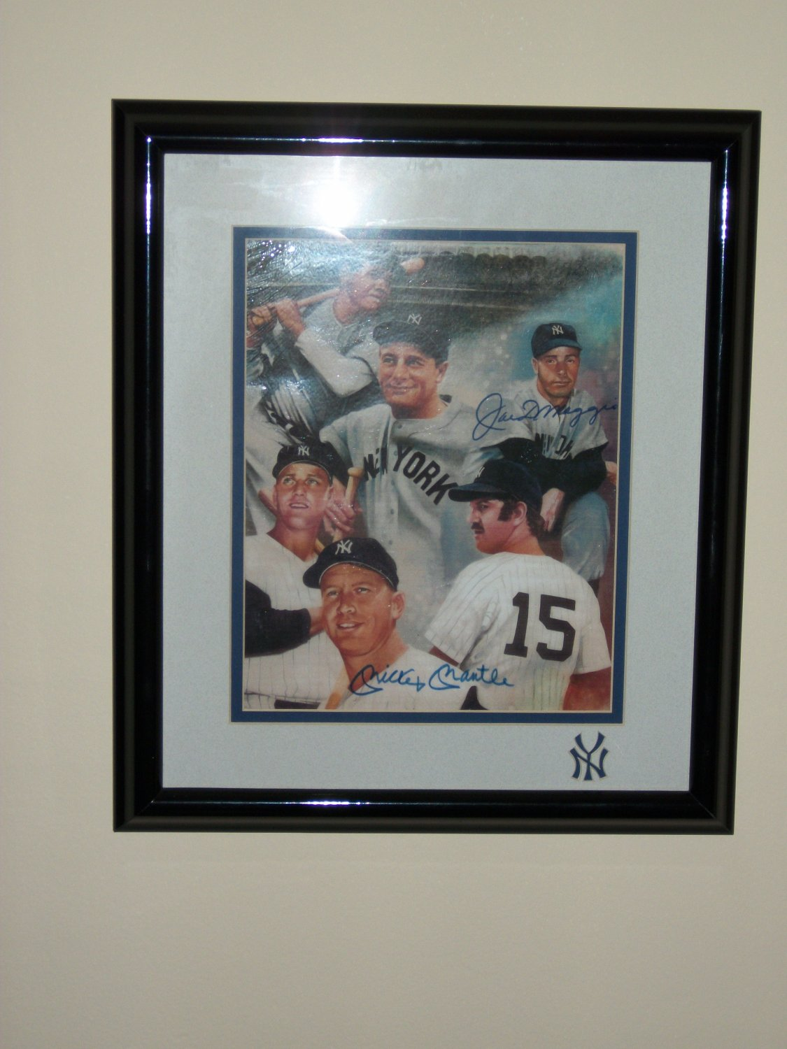 Mickey Mantle+Joe Dimaggio signed 8x10 photo