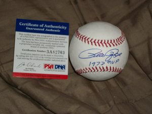 Pete Rose autographed 1973 MVP baseball