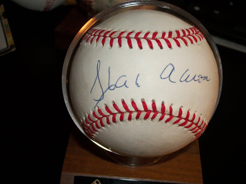 Hank Aaron autographed authentic MLB baseball