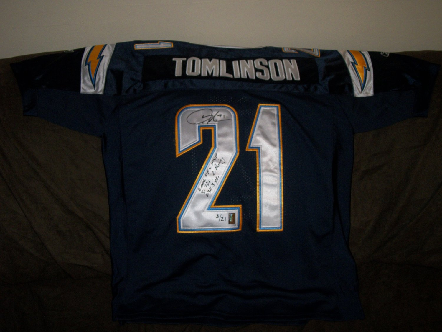 Ladanian Tomlinson Authentic LE Away Autographed Chargers Jersey