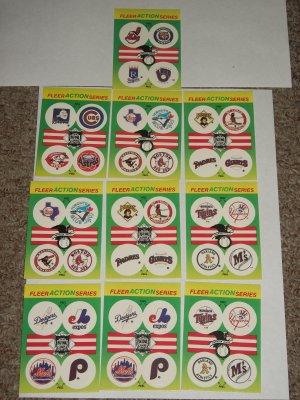 "1990 Fleer Baseball card pack small ""team stickers""-10 pk"