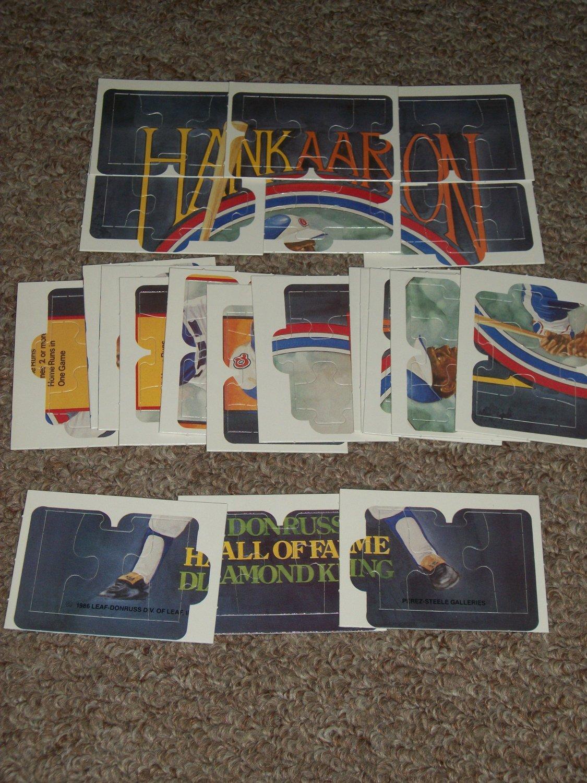 Rare Hank Aaron 1986 Donruss Diamond King Puzzle-Complete Set