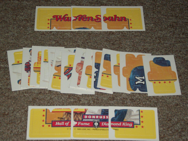 Rare Warren Spahn 1989 Donruss Diamond King Puzzle-Complete Set