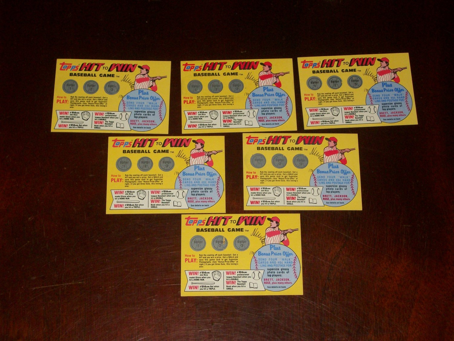 "1981 Topps ""Hit to Win"" baseball game expired inserts-12 pk"