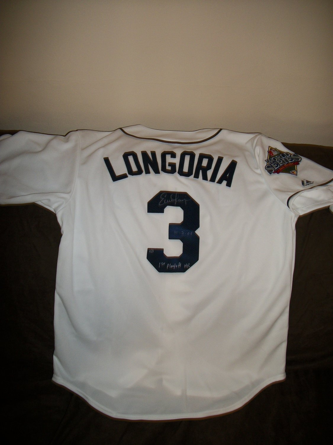 Evan Longoria Authentic SIGNED 2008 World Series Limited Edition Jersey