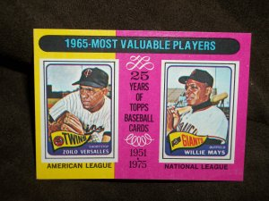 Topps 25 Years of Baseball-Mays and Versalles 1965 Most Valuable Players