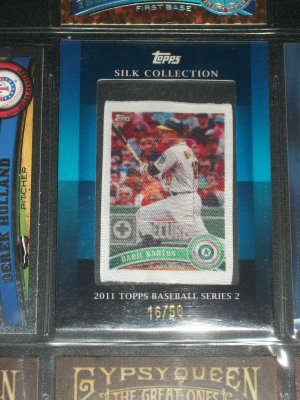 RARE Daric Barton 2011 Topps Silk Collection Series 2 Baseball card #16/50