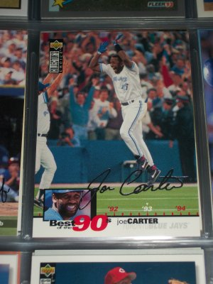 Joe Carter 1995 Upper Deck Baseball- Best of the 90's Silver Signature