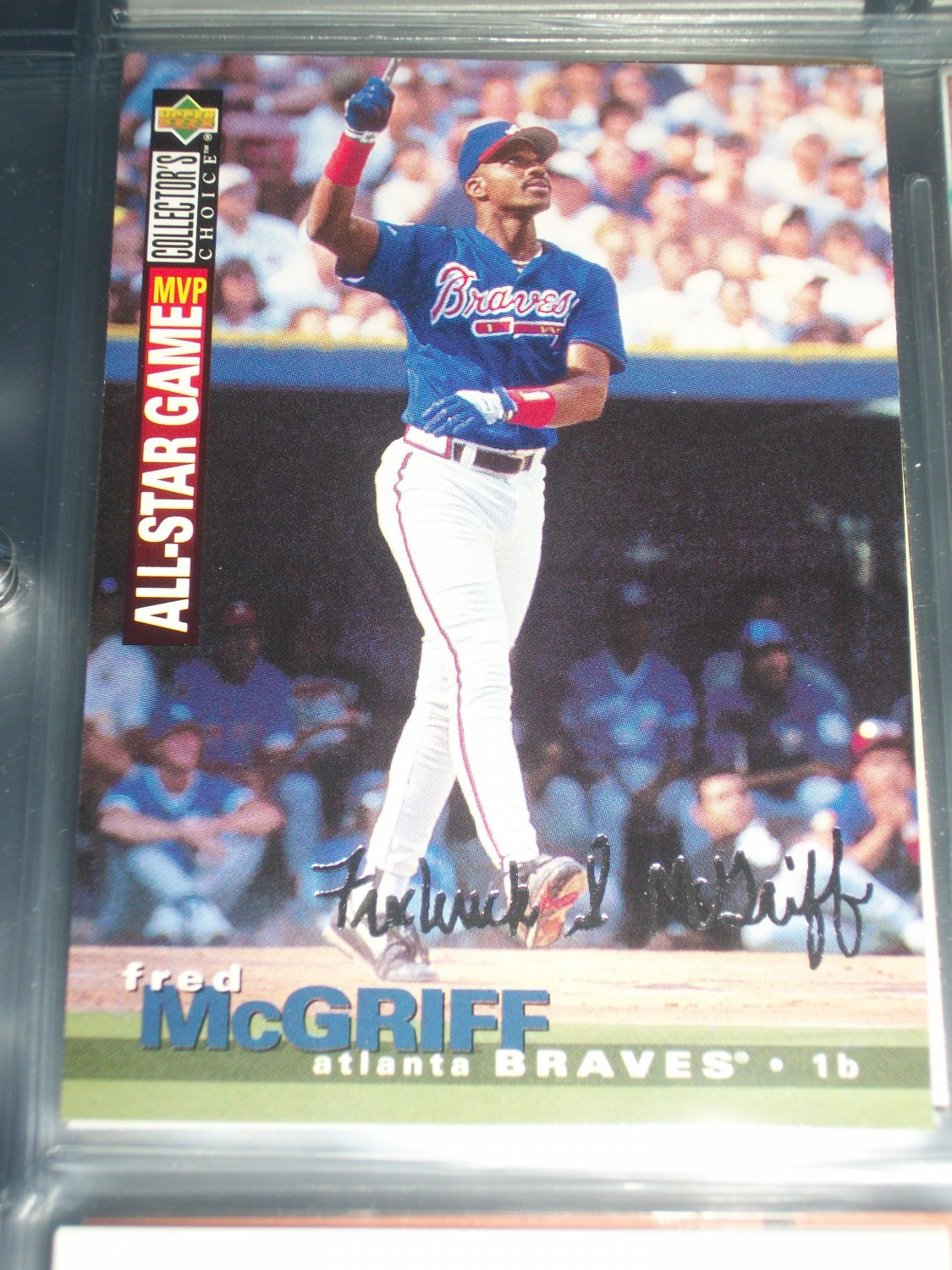 Fred McGriff 95 UD Collectors Choice- All Star Game MVP with Silver Signature