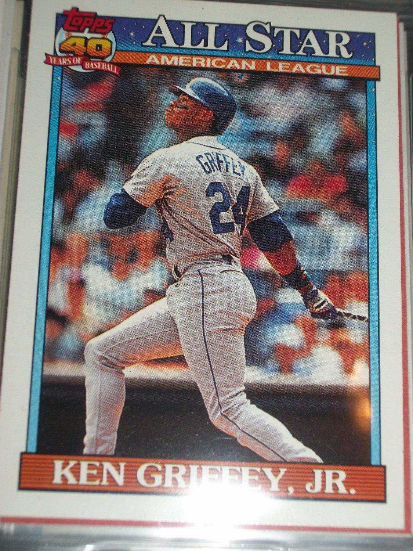 Ken Griffey Jr 1990 Topps Baseball Card American League All