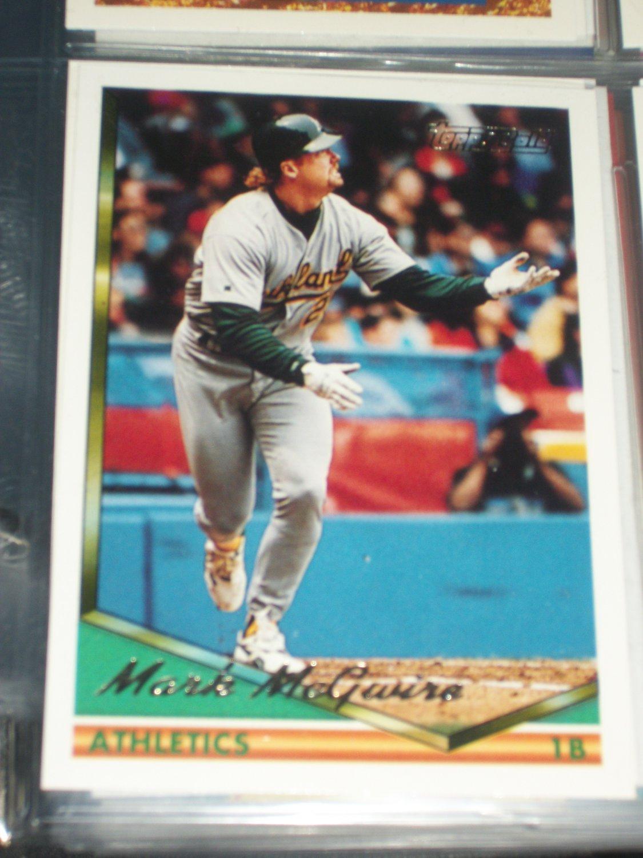 Mark McGwire 1994 Topps Baseball Card- Gold Insert
