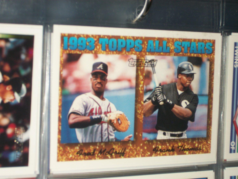 Frank Thomas/Fred McGriff 93 Topps All-Stars Baseball Card- Gold Insert