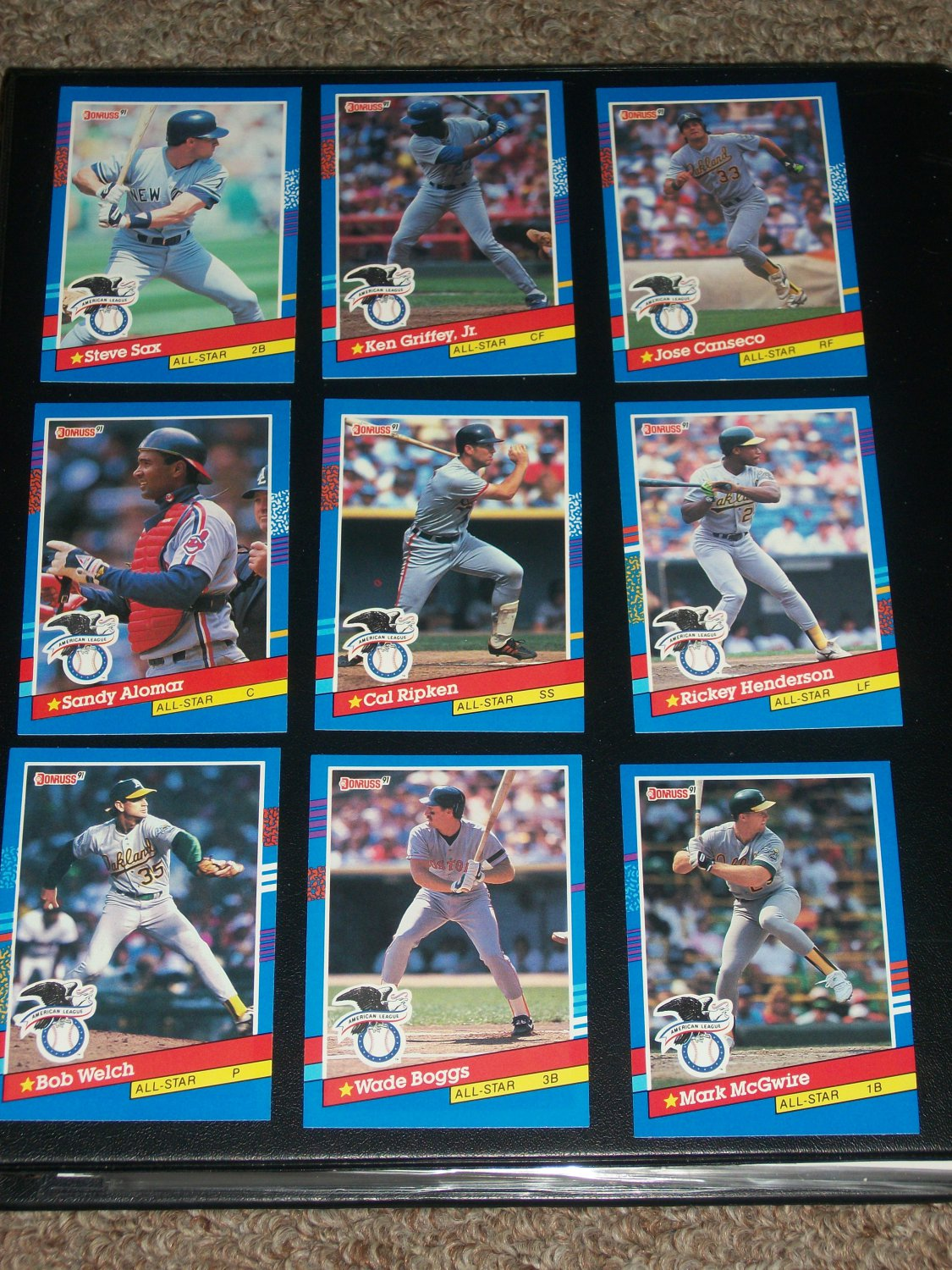 Donruss 1991 American League All-Stars Complete 9 card set