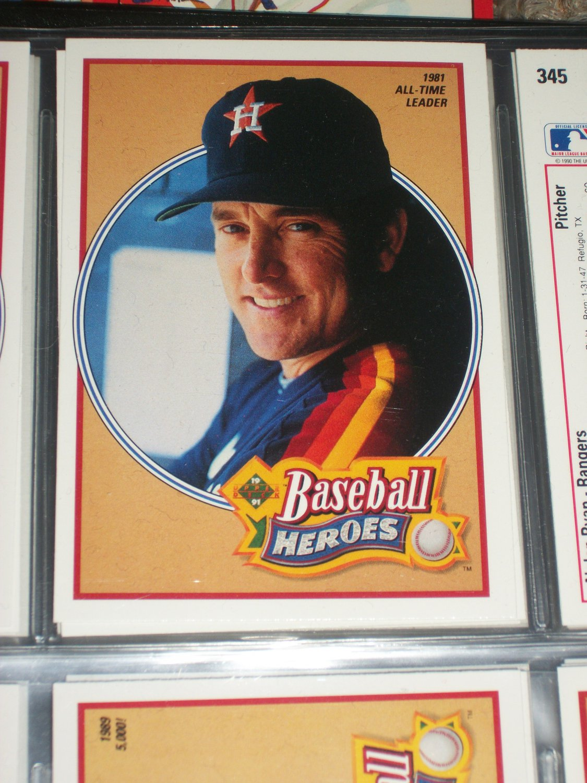 Nolan Ryan 1990 UD Baseball Heroes Insert #14/18- 1981 All-time Leader
