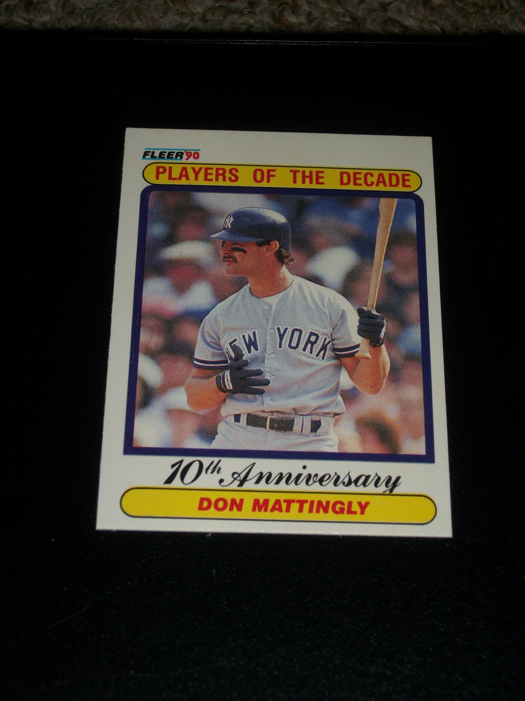 "Don Mattingly 90 Fleer baseball card- ""Players of the Decade"""