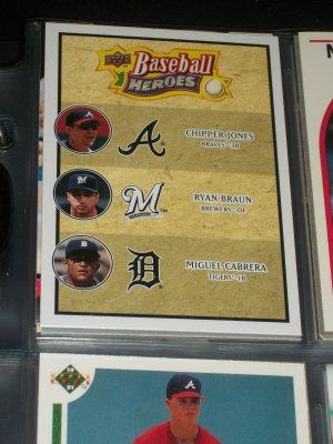 "Chipper Jones/Ryan Braun/Miguel Cabrera 08 UD Baseball Heroes card- ""Trio of Powerful Sluggers"""