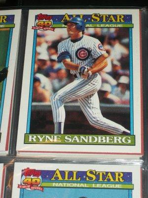 Ryne Sandberg 1991 Topps baseball Card- National League All-Star Team