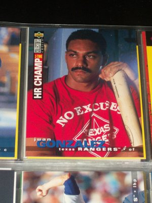 Juan Gonzalez 95 UD collectors choice baseball card- 2 Time HR Champ