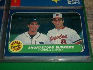 "86 Fleer ""Super Star Special"" Trammell+Ripken baseball card"