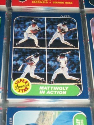 "86 Fleer ""Super Star Special"" Mattingly In Action baseball card"