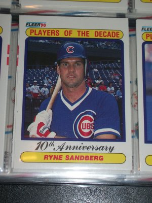 "Ryne Sandberg 1990 Fleer Baseball card- ""Players of the Decade"""