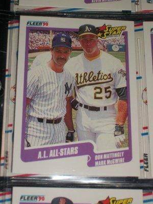 "1990 Fleer Baseball- Super Star Specials ""A.L. All-Stars"" Mattingly+McGwire card"