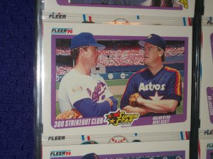 "Fleer 1990 Super Star Special- ""300 Strikeout Club"" Nolan Ryan+Mike Scott baseball card"