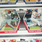 "2011 Topps ""Diamond Duos"" Crawford+Ellsbury baseball card"