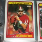 "Joe Montana 1988 Topps RARE ""Record Breakers"" football card"