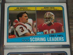 "1988 Topps NFL ""1987 Scoring Leaders"" football card"