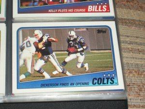 "1988 Topps Baltimore Colts Team football card- ""Dickerson finds an opening"""
