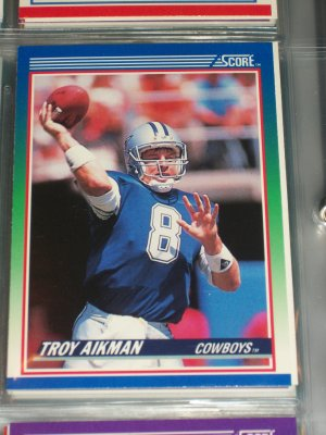 Troy Aikman 1990 Score football card
